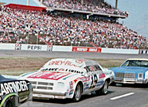 The #05 of Peter Nnab and the #19 of Dale Earnhardt sit in line waiting to qualify for the 1977 National 500 at Charlotte Motor Speedway. This was Dale Earnhardt's only start of the 1977 season